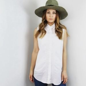 Equipment White Button Down Sleeveless Shirt